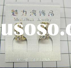 fashion alloy earrings with gold plated ,fashion rhine stone earrings