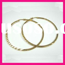 fashion stainless steel gold plated trendy big circle girls hoop earrings jewelry