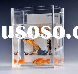 fashionable rectangle clear acrylic fish aquarium with photo frame