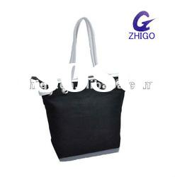 high quality women beach canvas bag with pu strape handle