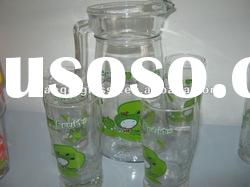 high quanlity promotion glass jar and cup set for tea/juice/coffee