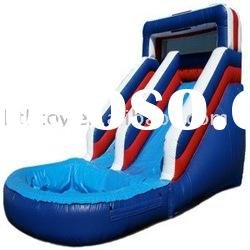 hot selling blue and red large inflatable slide with pool