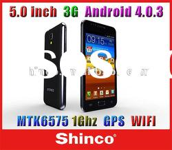 i9220 5 inch WVGA 800*480pixles MTK6575 1Ghz 3G Android 4.0.3 Smart mobile phone,wifi,GPS+AGPS, 8MP