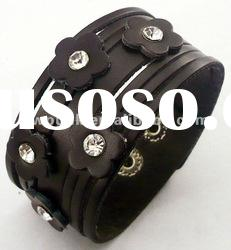 make leather cuff bracelet stainless steel magnetic clasps flower leather bracelets