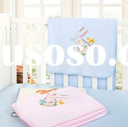 pink and blue knitted embroidery polar fleece baby blanket