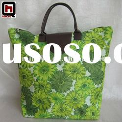 printed 600D polyester canvas tote bag/fiold up tote bag
