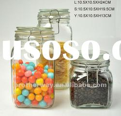 square shape food storage glass jar with glass cap