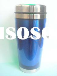 stainless steel and plastic travel mug with handle