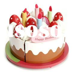 wooden toy birthday cake sets for kids play