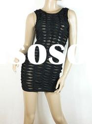 2011 Promotion Dress,Black Cut Holes Mesh Fashion Strap Dress Celebrity Evening Dress H077