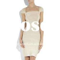 2012 Beige Lady Short Sleeve Party Evening Dress Fashion Dress DH009
