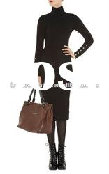 2012 Black High Neck Kitted Dress with Long Sleeve Fashion Formal Dress Lady Gowns KM238