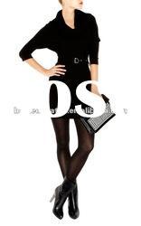 2012 Black High Neck Knitted Dress Lady Long Sleeve Formal Dress with Collar KM186