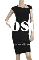 2012 Black Lady Backlass Dress Short Sleeves Party Evening Dress DH024