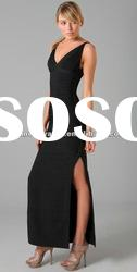 2012 Black V Neck Party Evening Dress Fashion Prom Dresses Long Dresses DH288