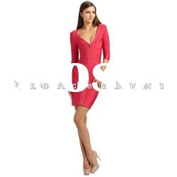 2012 Christmas Red Fashion Gowns,Lady Evening Party Dress,Sleeves Bandage Dress DH268