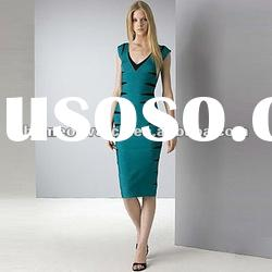 2012 Dark Green Lady Short Sleeve Long Prom Gowns,Party Evening Dress DH143