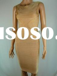 2012 Formal Evening Dress,Gold Straps Round Neck Bandage Dress Celebrity Dress H079