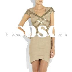 2012 Khaki Short Sleeve Fashion Gowns,Lady Hot Evening Party Dress DH091