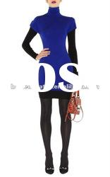 2012 Special Blue Tight Lady Knitted Evening Dress with Red Sleeves Sweater Party Dresses KN092