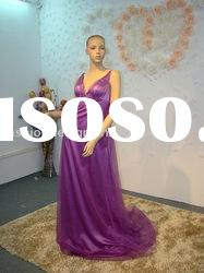 EW-18 2012 Stunning Purple V-neck taffeta back with bow tulle backless floor length evening dress