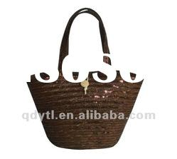 Fashinable brown wheat straw shoulder bag
