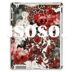 Flower Pattern For iPad 2 Hard Plastic Case (Compatible With Smart Cover) scarlet