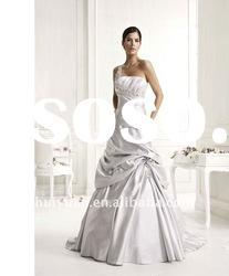 Light grey one shoulder strap wedding dress 2012