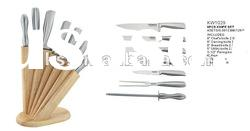 Professional 8 pcs hollow handle knife wooden block set with sharpener