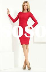 Red Long Sleeve Off-shoulder Lady Bandage Dress,Fashion Evening Dress H186