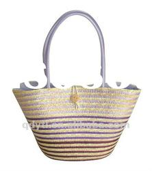 Shiny purple wheat straw beach bag