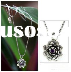 Silver Flower Pendant Necklace/Fashion Lotus Pendant Necklace/Women Costume Jewelry