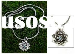 Silver Flower Pendant Necklace With Blue Topaz/Fashion Lotus Pendant Necklace/ Women Jewelry