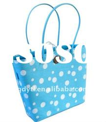 Sun's spot series-bright blue wheat straw beach bag
