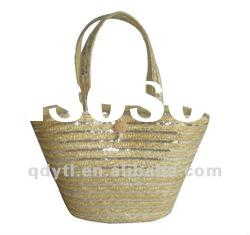 Unbleached wheat straw shoulder bag
