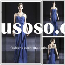 VE1343 Newest spaghetti strap chiffon floor-length custom made evening dress