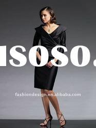 VO 270 Hot selling strapless black satin with jacket knee-length mother of bride dress