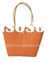 Warm orange wheat straw woven beach bag