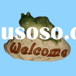 clay garden frog welcome sign