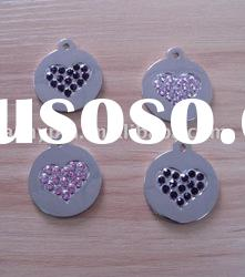 lovely dog tag with heart shaped crystal