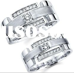 matching his & her silver crystal wedding bands