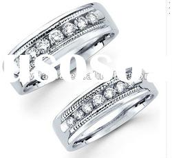 rope edge silver crystal his & hers ring set