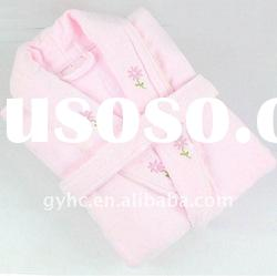100% cotton loop terry bathrobe with embroidery