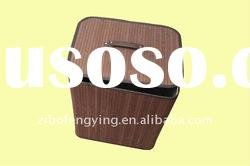 2011 Fashion Style Modern Bamboo Rectangle Folding Line Laundry Basket with Cover