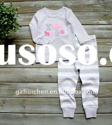 2011 autumn baby clothes set 100% cotton embroider baby pajama