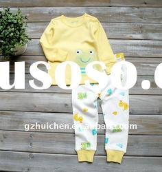 2011 autumn baby clothing set 100% cotton embroider pajama