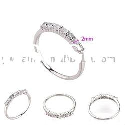 2011 hot sale plating white gold copper ring with stone 190261