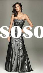 2012Hot Sale sweetheart black sequin women fashion Evening Dress / Party Gown