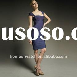 2012 Navy blue Lady Short Sleeve Party Evening Dress Fashion Dress DH009