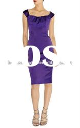2012 Purple Slim Lady Party Evening Dress Fashion Gowns Prom Satin Dress DM203